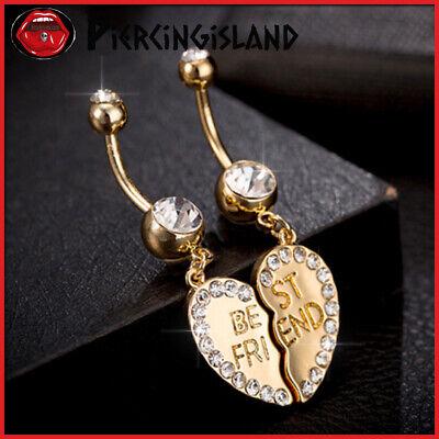 9K Gold GF Best Friend Charm Dangle Steel Belly Rings Bar Navel Barbell