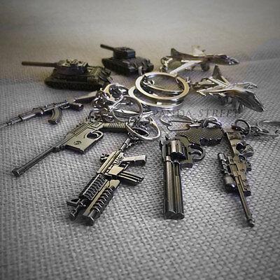 Military Weapon Pistol Airplane Tank Gun Model Metal Keyring Keychain Key Chain