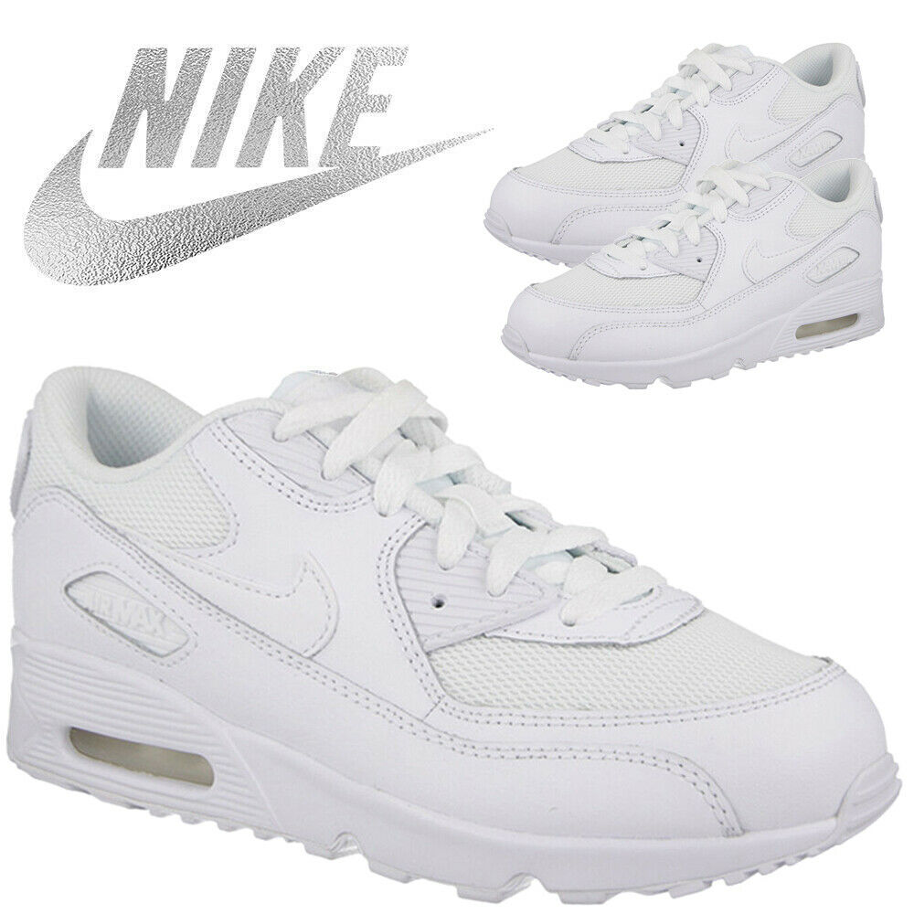 Details about Nike Kids Air Max 90 Leather Trainers Boys Girls Children School Sports Shoes