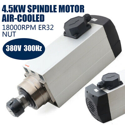 380v Er32 Spindle Motor Air-cooled 4 Bearing 4.5kw Cnc Woodworking 18000 Revmin