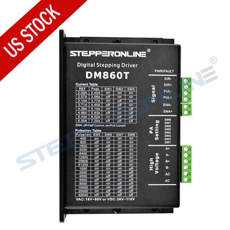 STEPPERONLINE Nema 34 Stepper Motor Driver 2.4-7.2A 18-80VAC or 36-110VDC DM860T