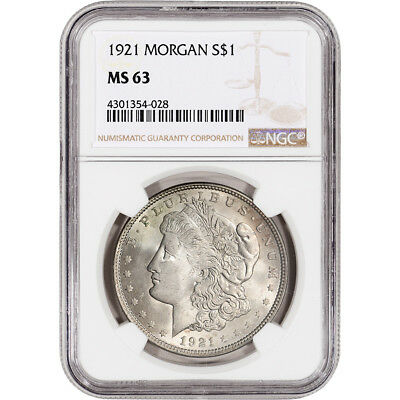 1921 US Morgan Silver Dollar $1 - NGC MS63