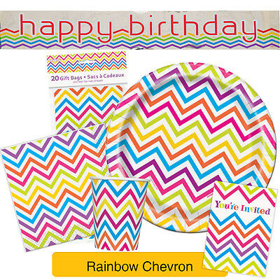 RAINBOW CHEVRON TABLEWARE {Unique} Party Decorations Kids Birthday - Unique Party Supplies