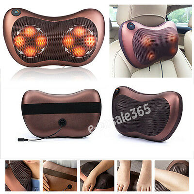 Home Car Relax Shiatsu Heat Massage Pillow Kneading Massager Neck Shoulder Back