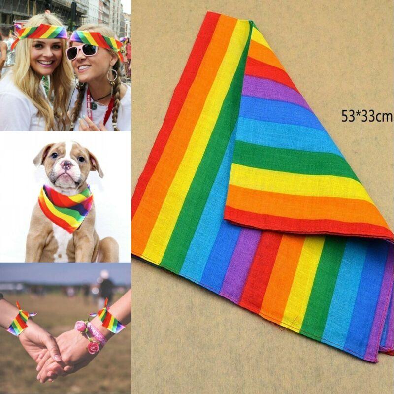 Cotton Rainbow Bandanas Headband Gay Pride Face Mask Neck Sc