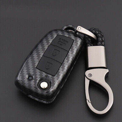 Carbon Fiber Shell Black Silicone Protector Remote Key Holder For Nissan Sylphy