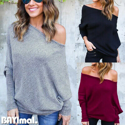 Womens Off Shoulder Long Sleeve Sweater Ladies Casual Loose Jumper Pullover Tops