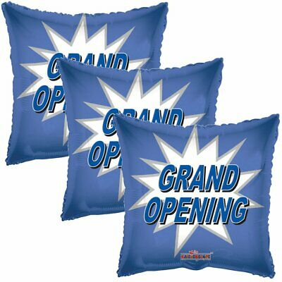3 pc Blue Grand Opening Starburst Square Store Promotional Foil Balloon Reusable - Balloon Stores