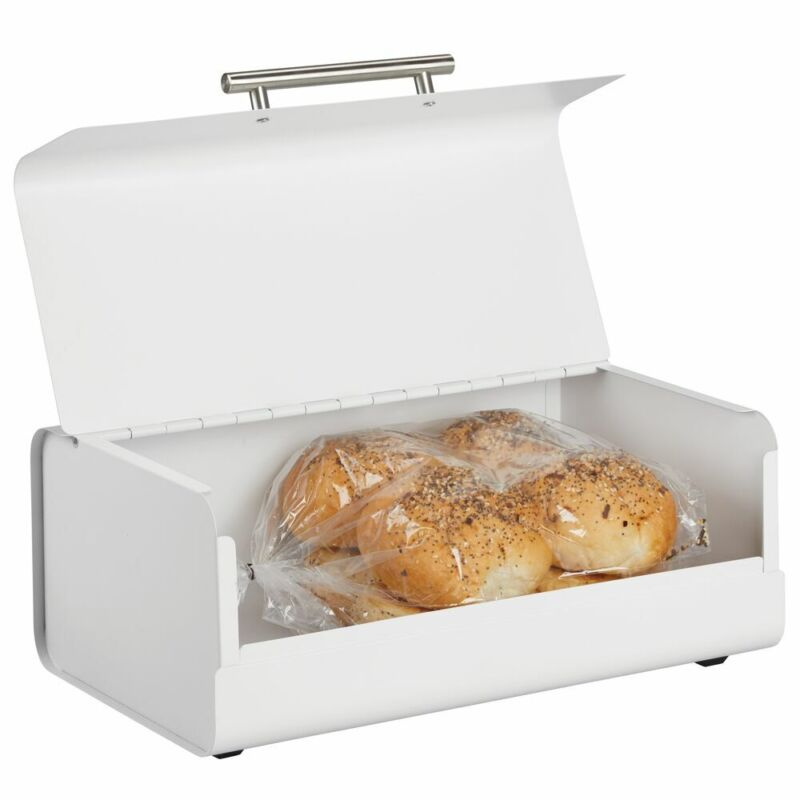 mDesign Metal Kitchen Countertop Bread Box, Home Storage Bin - Matte White