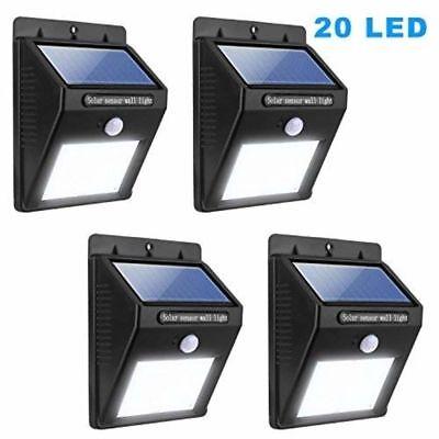 Solar LED Light 4 Pack Solar Sensor Motion Light 20 LED Outdoor Lamp Waterproof