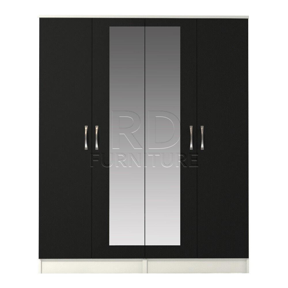Clic 4 Door Mirrored Wardrobe White And Black