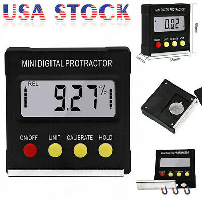 Digital Lcd Protractor Gauge Level Box Angle Finder Inclinometer Magnet Meter Bo