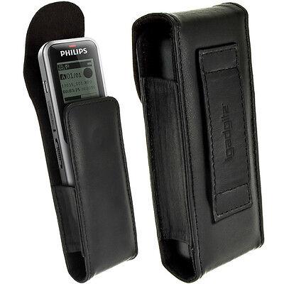 Schwarz Echt Leder Tasche Hülle für Philips VoiceTracer Digitale Diktiergeräte