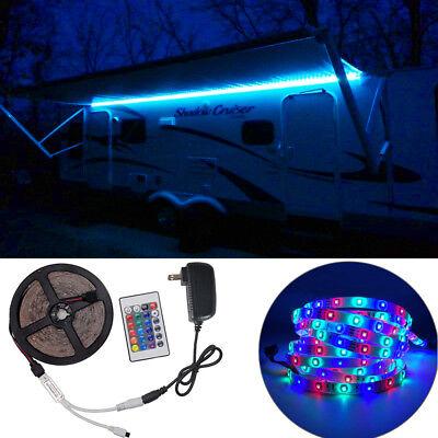 RV LED Camper Awning Boat Light Set w/IR Remote 24 key  RGB 16FT 3528 Waterproof