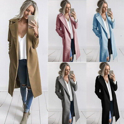 Autumn Winter Women Lapel Long Parka Windbreaker Jacket Overcoat Outerwear 2018