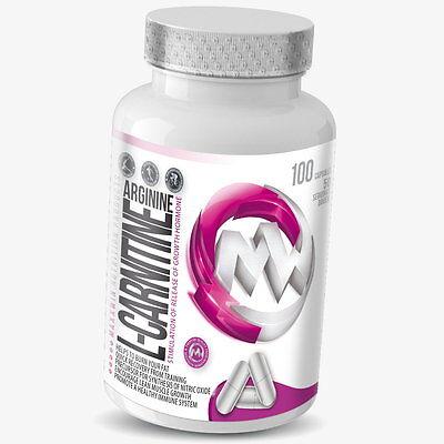 100 Kapseln L-Carnitin + Arginin á 500mg Fatburner Fettreduktion Diät Bonus