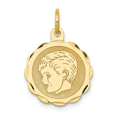 - 14k 14kt Yellow Gold Boy Head on .013 Gauge Engravable Scalloped Disc Charm