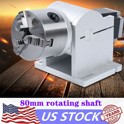 Axis 80mm Rotary Rotation Rotating Shaft For Laser Engraving Cnc Machine Us Ship