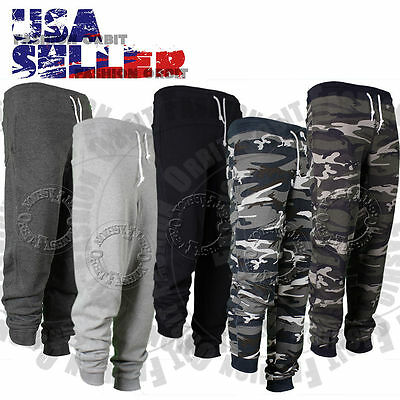 Mens Jogger Sweatpants French Terry Gym Sports Pants Camo Casual Elastic Dance