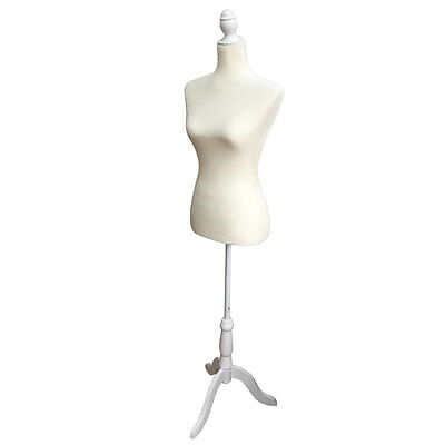 36 Size White Female Mannequin Torso Dress Form Display W White Tripod Stand