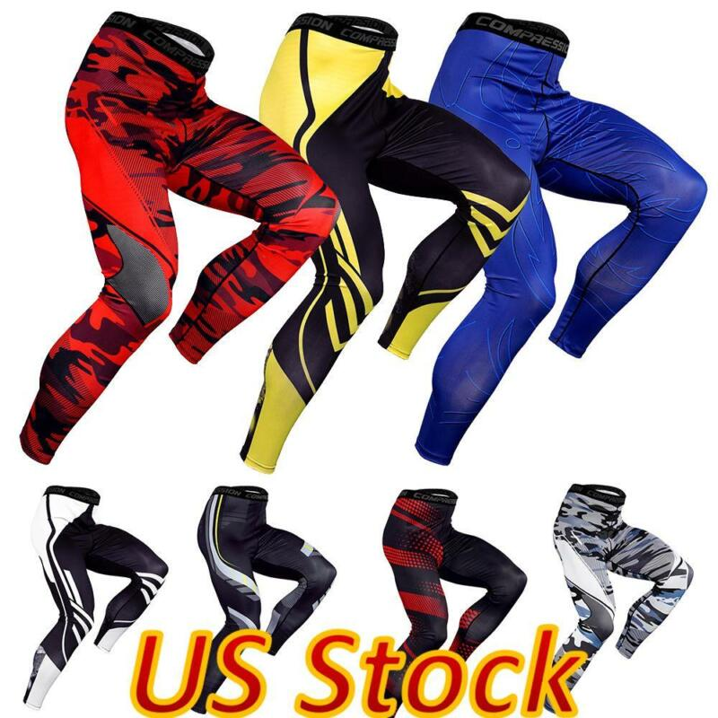 ✅men Compression Base Layer Gym Leggings Sports Pants Tight Running Bottoms Us✅