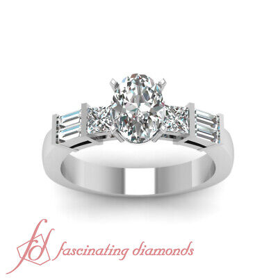.85 Ct Oval Shape SI1-F Color Diamond Bar Set Engagement Ring 14K White Gold GIA 1