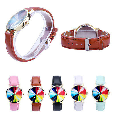 Plain Design Women Color Pattern Dial Faux Leather Analog Quartz Wrist Watch HOT