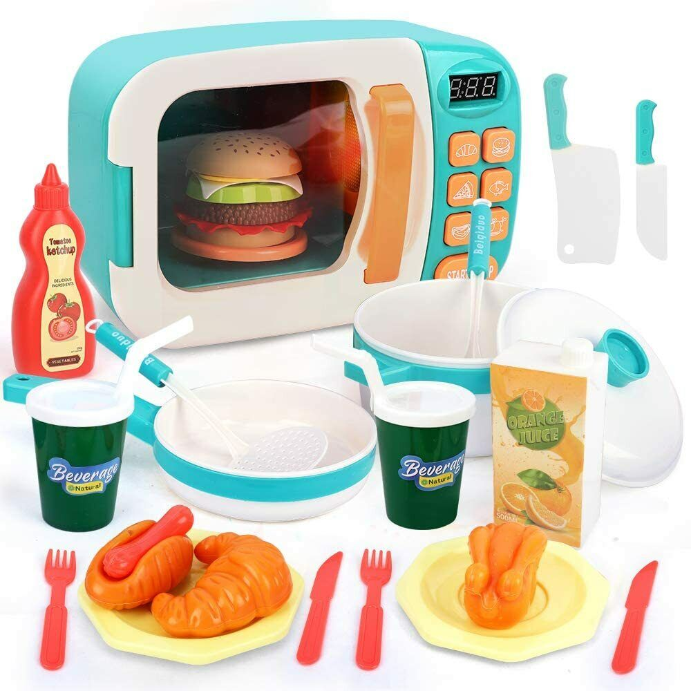 BeebeeRun Microwave Play Kitchen Set Pretend Play Electronic Oven For Toddlers