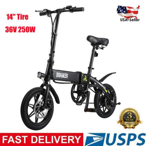 "14"" Folding Aluminum E-Bike Electric Bicycle Mountain Bike L"