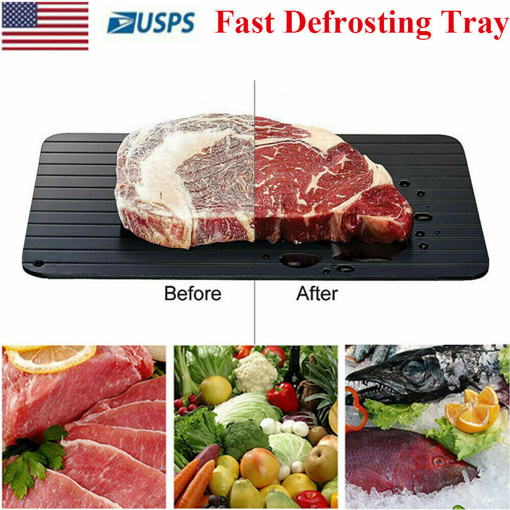 Fast Defrosting Tray Rapid Thawing Board Safe Defrost Meat Frozen Food Plate(L) Home & Garden