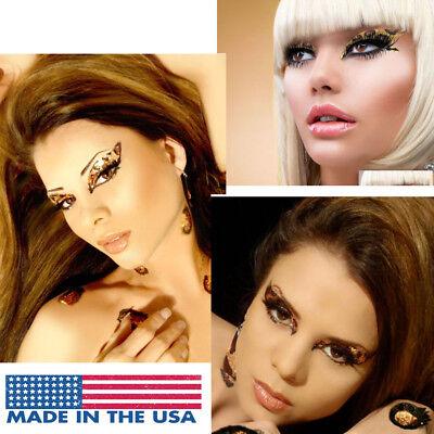 Cheetah/Leopard Cat Glitter Reusable Easy Sticker Eye Makeup Kit Costume Mask US (Easy Cat Make Up)