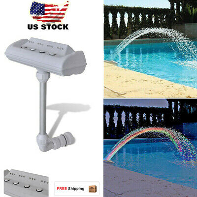 Above Ground Cascade Waterfall Swimming Pool Fountain with LED Lights Jets US