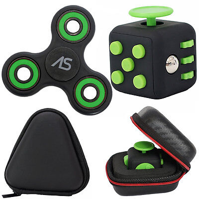 Fidget Spinner + Fidget Cube Desk Toy + Case Best Stress Reducer Set Brand New (Best Fidget Cube Brand)