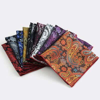 Men Fashion Paisley Floral Pocket Square Red Rolled Edge Wedding Handkerchief  - Red Handkerchief