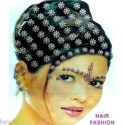 Bollywood Bindis Indisch Haarschmuck Kopfschmuck Strass Hochzeit Fasching rosa