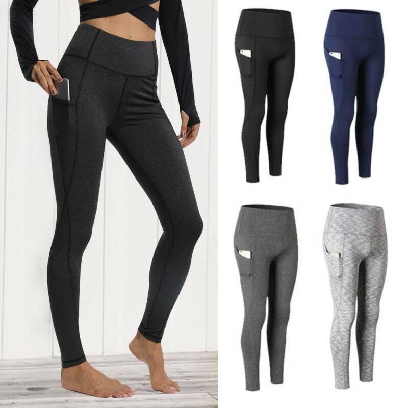 womens high waist yoga leggings pockets fitness