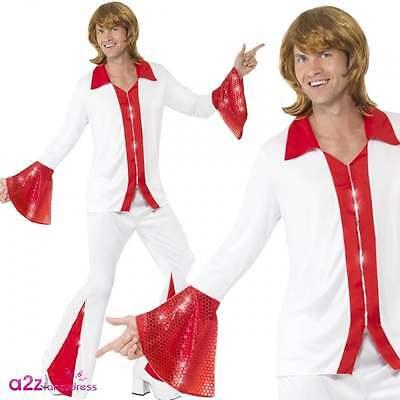 Abba Kostüm (70s Bjorn Abba Super Trooper Disco Erwachsene Fancy Dress Kostüm Shirt Hose)
