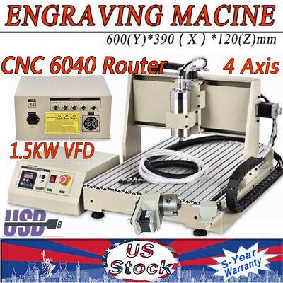 1.5kw 4axis 6040 Cnc Usb Router Desktop Engraver Drilling Milling Machine Vfd Us