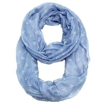 Light Blue Anchor Infinity Scarf