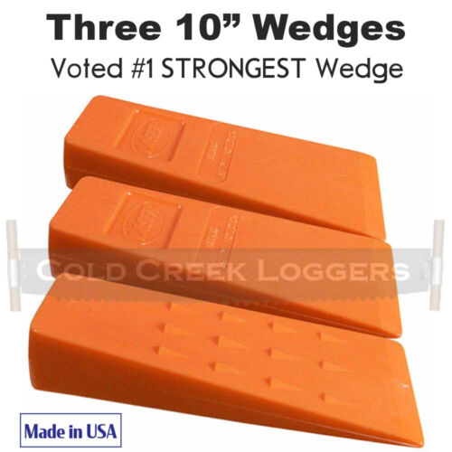 """3 - 10"""" USA HARD Plastic Felling Bucking Tree Forestry Chainsaw Spiked Wedges"""