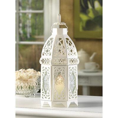 """Large 12"""" White Moroccan whitewashed lattice lace Lantern shabby Candle (Lace Lantern)"""