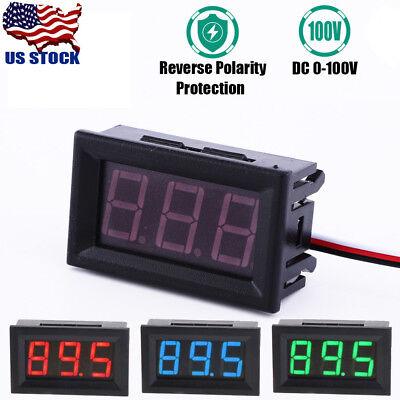 1pc Dc 100v Digital Voltmeter Ammeter Blue Red Green Led Volt Amp Meter Gauge Us