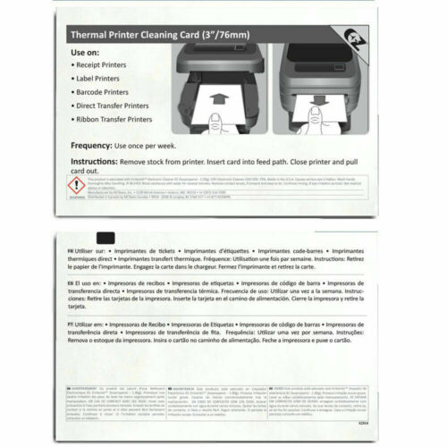 Thermal Printer Cleaning Card 3in x 6in (76.2mm x 152.4mm) 44 count