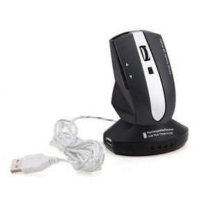 2.4G Wireless Rechargeable Mouse W/ 3 Ports USB Hub/Charging Dock for Laptop PC