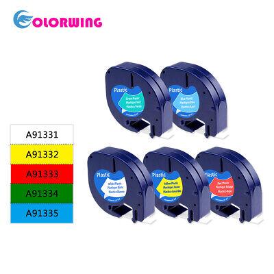 5pack 91331 91332 91333 91334 91335 Compatible Dymo Letratag Label Tape Comboset