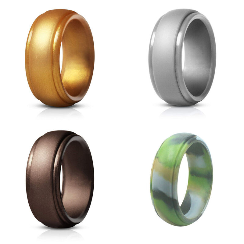 4* Silicone Wedding Band Engagement Ring Rubber Mens Womens Jewelry