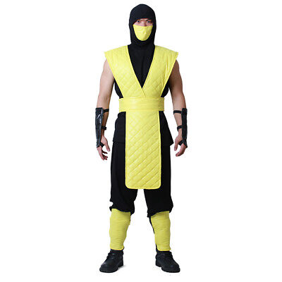 Mortal Kombat Scorpion Cosplay Costume with Mask for Adult Men - Mortal Kombat Costumes