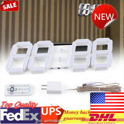 RC Large Big Number Digital Led Clock/ 3D Wall Desk Clock Timer Wall Clock US