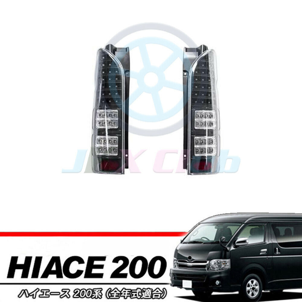 Pair Black LED LH&RH Side Tail Light lamp For Toyota Hiace