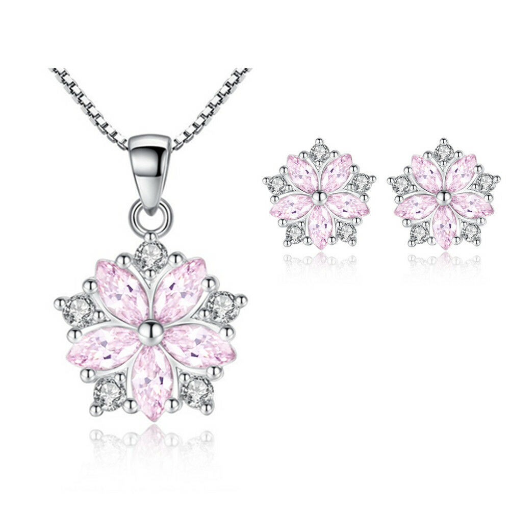 Jewellery - Crystal Pendant Necklace 925 Sterling Silver Stud Earrings Womens Jewellery Gift